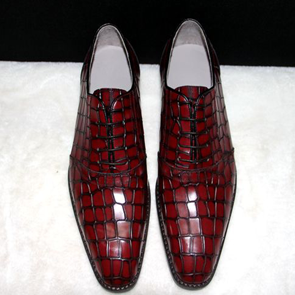 Luxury mens custom goodyear welted shoes burgundy grooms wedding shoes alligator skin oxfords shoes blue crocofile dress shoes