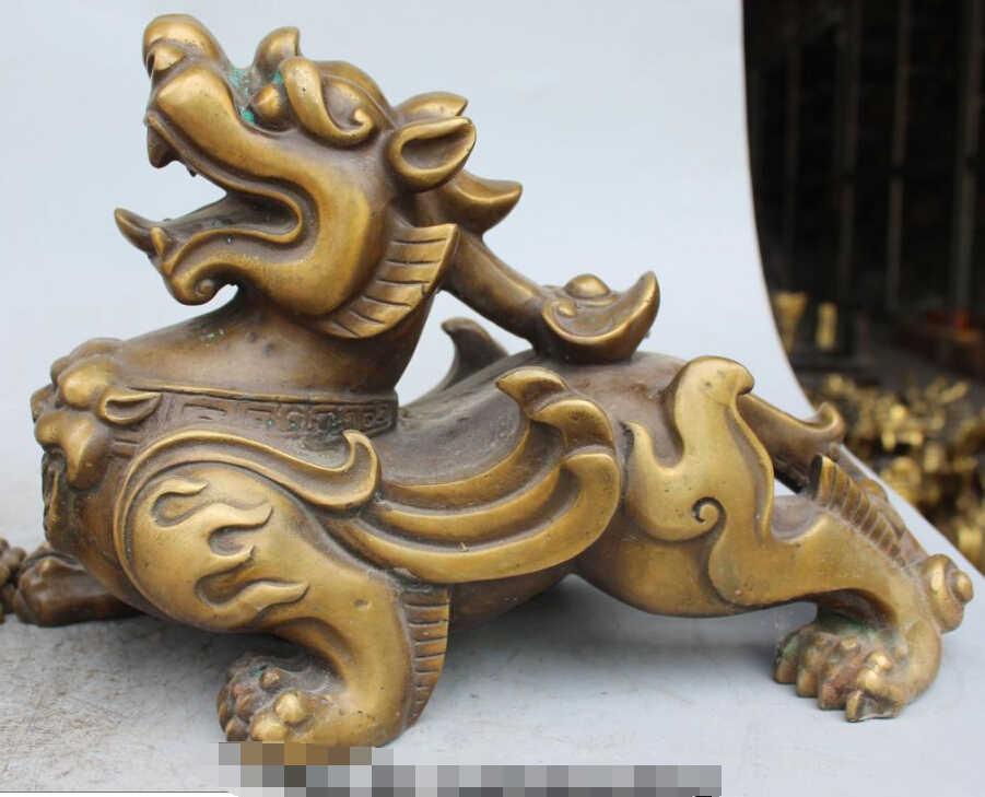 "S0385 שוו ב 12 ""פנג שואי הסיני ברונזה בעלי החיים הדרקון Unicorn Kylin חית PiXiu פסל זוג"