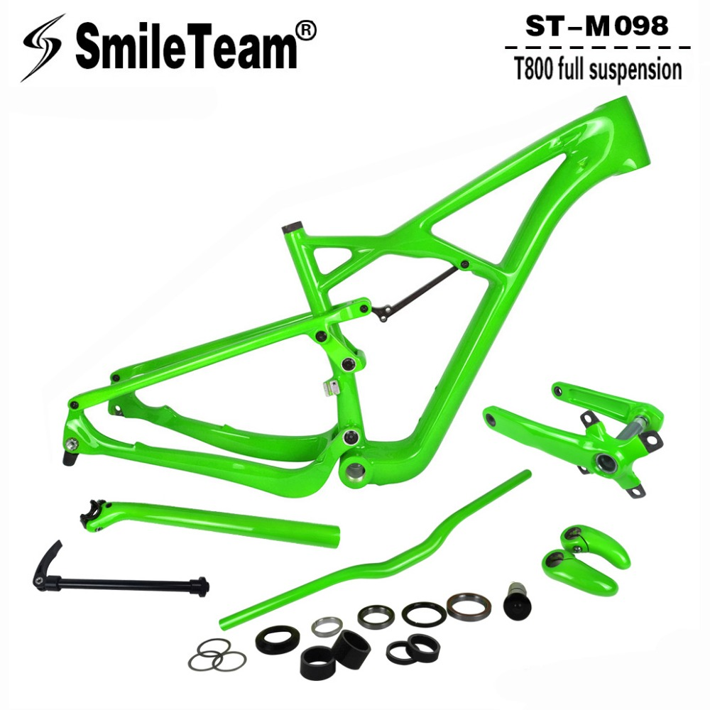 SmileTeam 29er Carbon Full Suspension Mountain Bike Frame 142*12mm Thru Axle MTB Bicycle Frameset With Crank Seatpost Handlebar стоимость