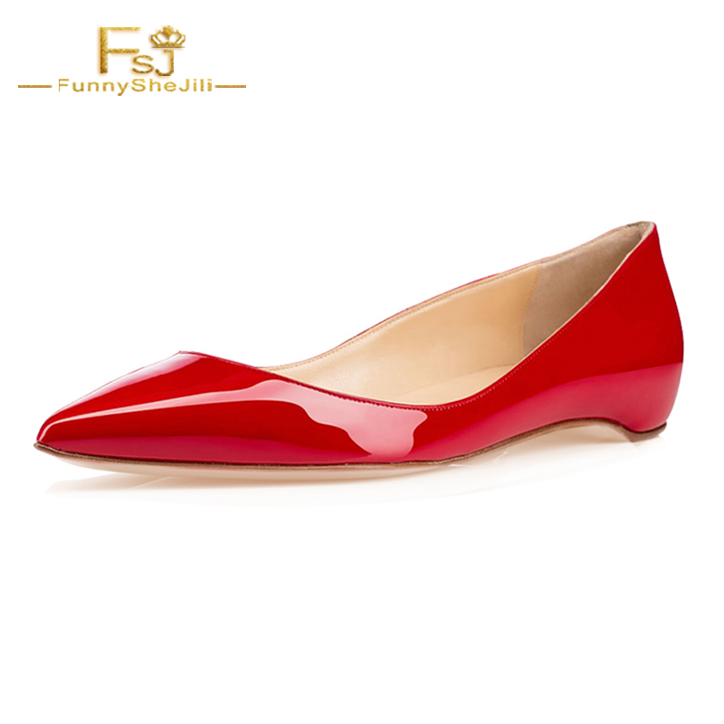 FSJ Ballet Red Flats Shallow Ladies Patent Leather Pointed Toe Women Shoes Black Slip On Loafers Casual Dress Shoes For Woman women ballerina flats shallow slip on ballet shoes pointed toe flats woman metal heart shape rubber leather black ladies shoes
