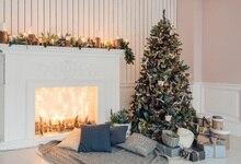Laeacco Lareira Cobertor Cena Da Árvore de Natal Backdrops Para Estúdio de Fotografia Fotografia Fundos Fotográficos Personalizados Do Bebê