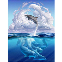 Dolphins NEW 3D DIY Diamond Painting Cross Stitch Crystal Needlework Diamond Embroidery Full Diamond Decorative RS330