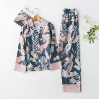 2 Suits Sleepwear Autumn Classical Magpie Printing Satin Pajamas Long Sleeve Loungewear Women Turn down Collar Thin Home Clothes
