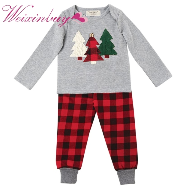 2017 christmas baby boys clothing set children kids christmas tree suit t shirts pants baby