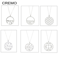 цена на Cremo Vintage Interchangeable Reversible Leather Pendant Charm Chain Necklaces & Pendants Stainless Steel Women Charm Necklace