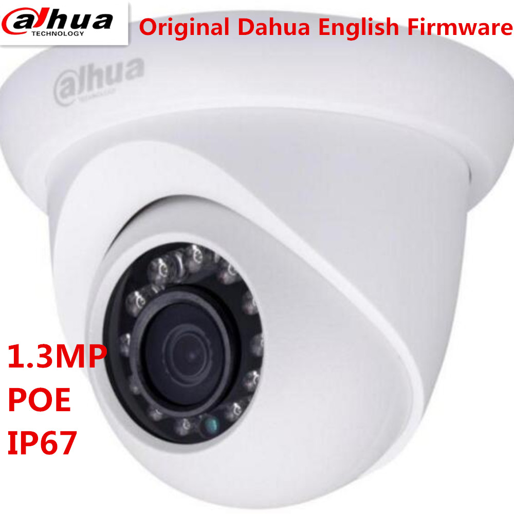 Original DAHUA IP Camera 1.3MP HD Network Small IR Eyeball Camera DH-IPC-HDW1320S Support POE and Onvif English version original dahua dh ipc ebw81200 12mp ultra hd metal waterproof shell ir network fisheye camera ip67 ipc ebw81200
