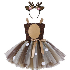 Image 1 - Girls Reindeer Dress Up Costumes Children O neck Pattern Solid Dress Christmas Birthday Party Kids Dresses for Girls Ball Gown