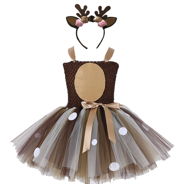 Girls Reindeer Dress Up Costumes Children O neck Pattern Solid Dress Christmas Birthday Party Kids Dresses for Girls Ball Gown