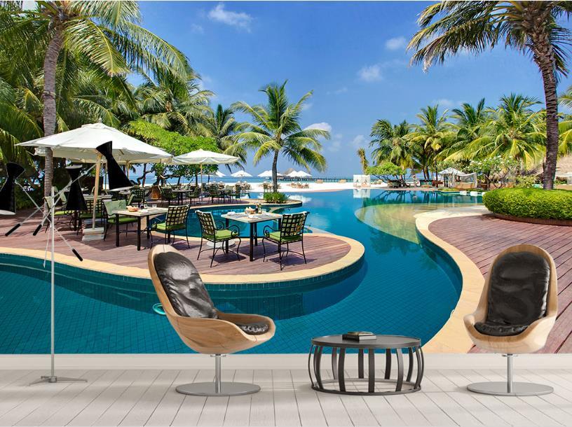 Wallpaper 3D Stereoscopic Custom European Seaside Blue Sky Coconut Tree Landscape Living Room Background Wall