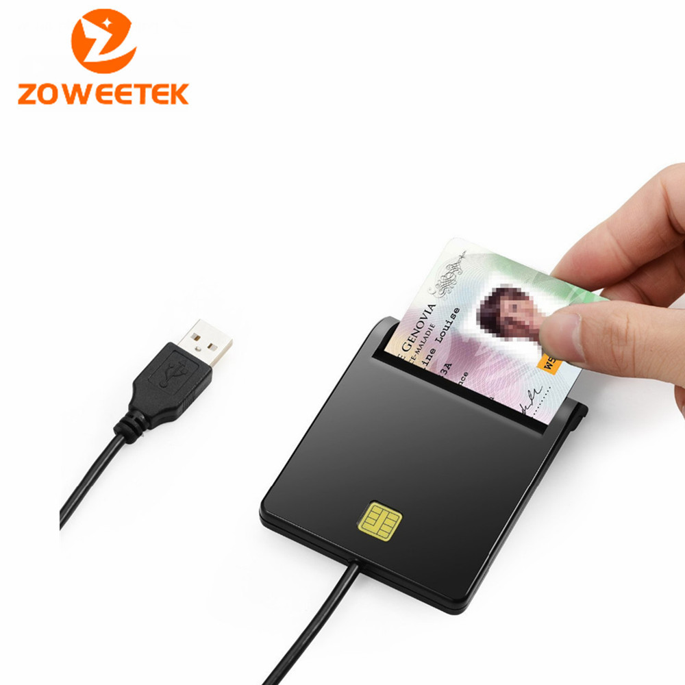Zoweetek 12026-1 Smart Card Reader DOD Military USB Common Access CAC EMV USB Smart Card Adapter For SIM / ATM / IC / ID Card