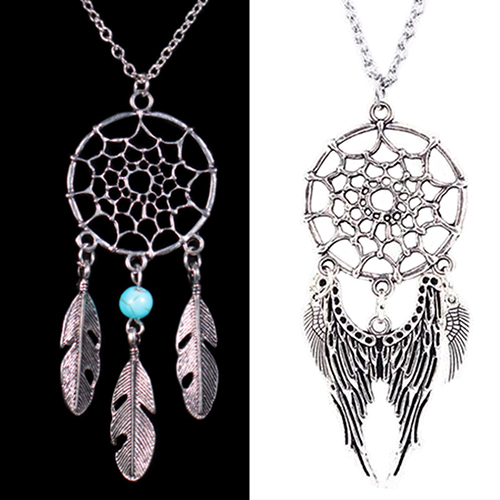 Best Selling! Women Ethnic Turquoise Feather Wing Pendant Dream Catcher Charm Chain Necklace  76O4
