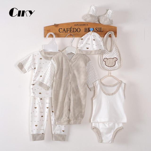 (8 pçs/set) Bebê Recém-nascido definir 0-3 M Marca Da Menina do Menino Roupa do bebê set Algodão Estampado Único breasted Cueca B-021