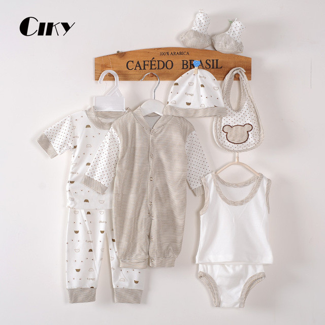 (8pcs/set)Newborn Baby set 0-3M Brand Boy Girl baby Clothes set Cotton Printed Single breasted Underwear B-021