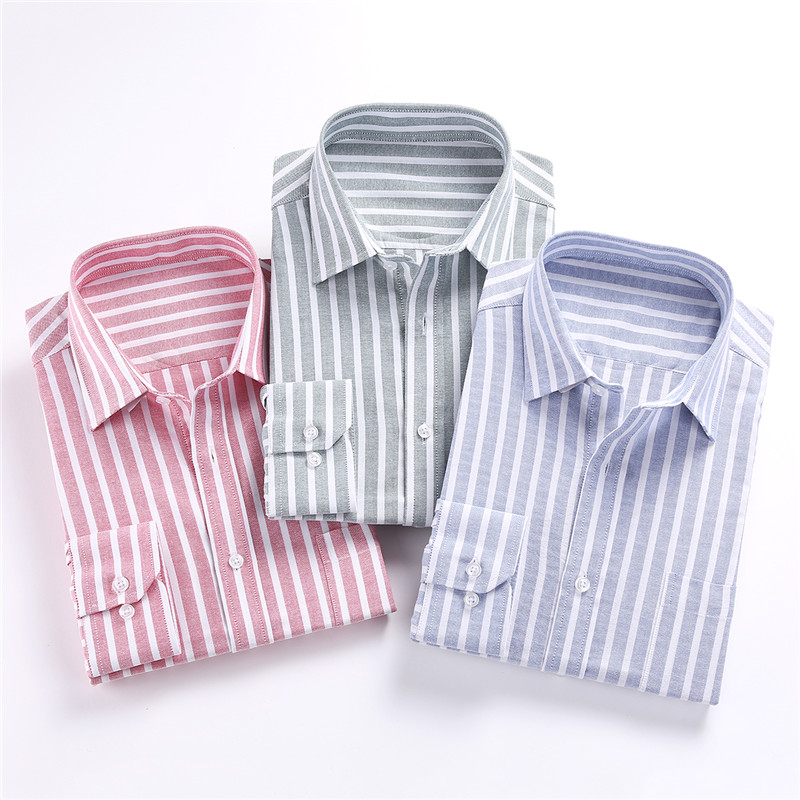 Jeetoo Cotton Striped Mens Shirt Blouses Casual Long Sleeve Oxford Dress Shirt Fashion S ...