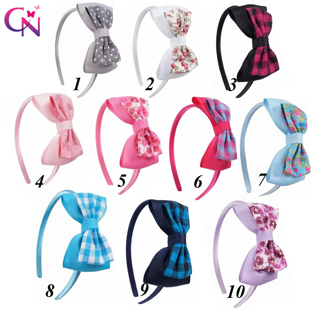 10 Pcs/lot Fabric Ribbon Bow Hairband With Satin Covered For Kids Handmade Hard Headband Hair Accessories Headwear 10pcs lot high quality hair band with grosgrain ribbon flower for girls handmade flower hairbow hairband kids hair accessories