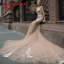 Custom Made 2017 Champagne Mermaid Dresses Sexy Sweetheart Beading Tulle Lace Vestido De Noiva Vintage Wedding Gowns