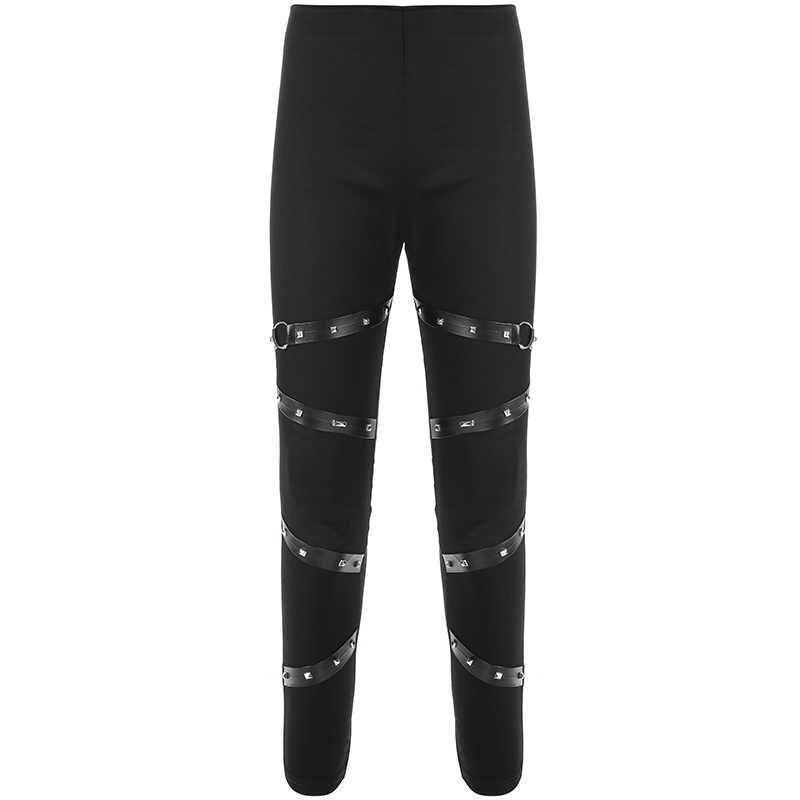 Rapwriter уличная панк Брюки-карандаш черные женские эластичные брюки с высокой талией Лоскутные кожаные повязки джоггеры брюки Капри
