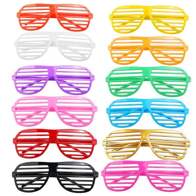 24 Pairs Fashion Plastic Shutter Shades Glasses Sunglasses Eyewear Halloween Club Party Concert Cosplay Props (Random Color)