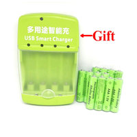 Cncool 12pack AAA 2100mah 1.5V Alkaline Battery AAA Rechargeable Battery WIth USB Smart Alkaline/NI MH/Ni Cd Charger As Gift