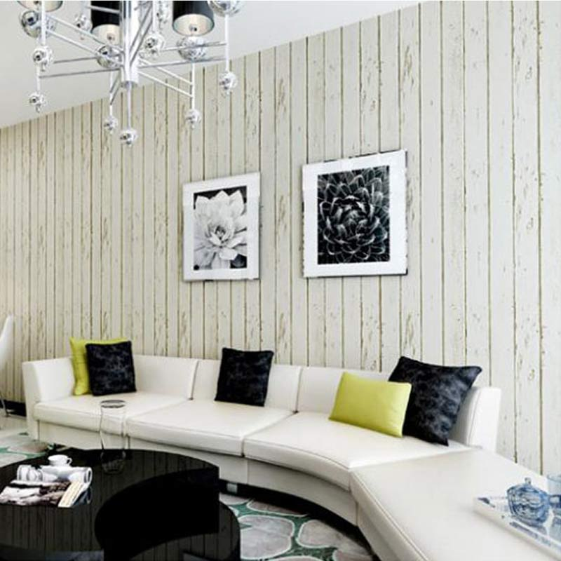azul blanco panel de madera rollo de papel no tejido dormitorio sala de estar pared de