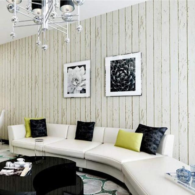 Preferência Azul Branco Painel De Madeira Não tecido Wallpaper Rolo Sala  DU24