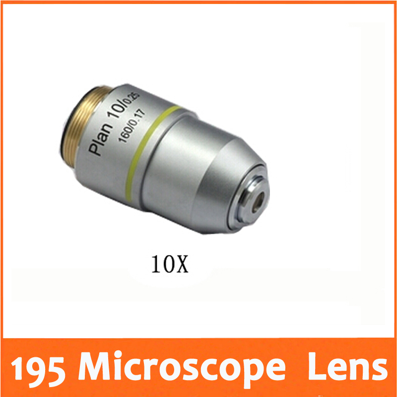 10X L=195 Plan Achromatic Biological Microscope Objective Lens Laboratory Biomicroscopy Accessories 20.2mm for Medical Science  цены