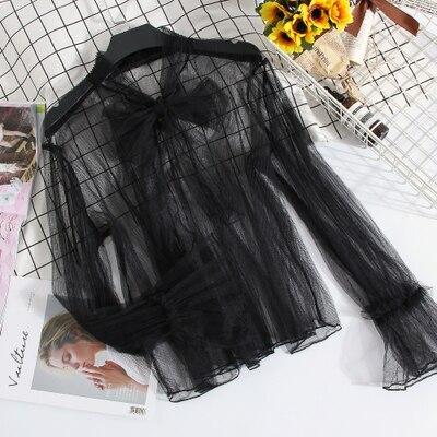 Freeship ladies see through black/kaki/grey lounge long sleeve collar bowknot Blouses with inside top