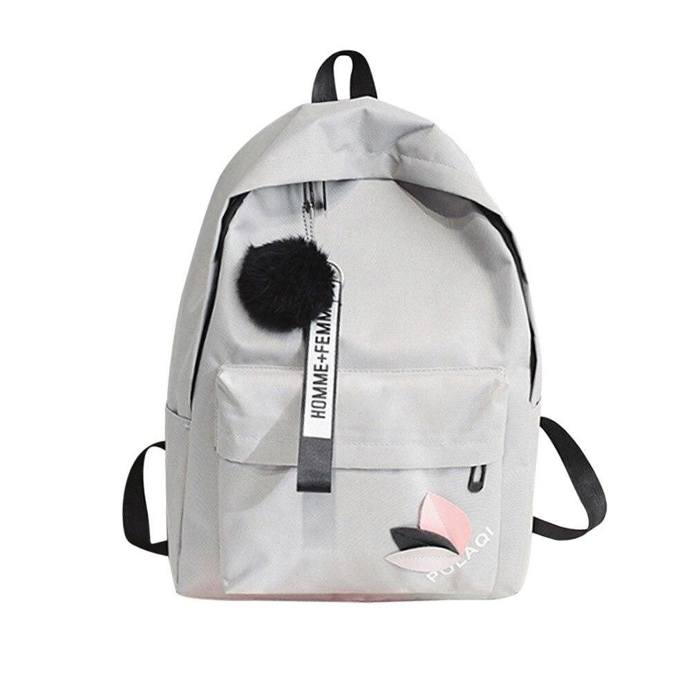 Fashion Men Women Backpacks Neutral Bag Shoulder Bags Canvas School Girls Boy Travel Hairball Student School Laptop Backpacks