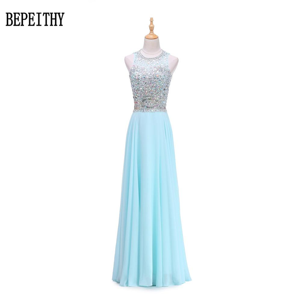 BEPEITHY New Arrial Vintage Evening Dresses Vestido Longo Aqua Blue Long Evening Dress 2017 Crystal Top Robe De Soiree