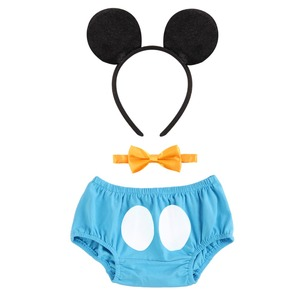 3pcs Set Baby Boy Girl Birthday Cake Smash Outfit Mickey Mouse Cosplay Diaper Pants Shorts Pants Bow Tie Headband Baby Clothes
