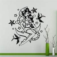 Mermaid Girl Wall Vinyl Decal Marine Sea Wall Sticker Home Wall Art Decor Ideas Wall Interior
