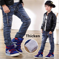 2017 Winter Light Wash Boys Jeans for Boys Solid Warm Thicken Children's Jeans Children Jeans Boys Pants Ripped Hole Jeans