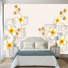 Modern simple white vertical stripes backdrop and 3D printed flower wallpapers living room bedroom household wall decoration