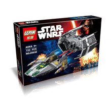 2016 New LEPIN STAR WARS 722pcs Vader Tie Advanced VS A-wing Starfighter Spaceship War Building Blocks Starwars Toys