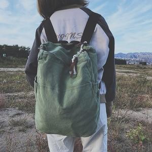 Image 1 - Solid Color Multifunctional Bag Canvas Backpack Women Mochila School Bag For Travel Backpacks School Backpack For Girls