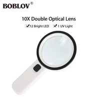 BOBLOV 10x Optical Lens 12pcs LED Light UV Portable Magnifier For Reading Newspaper Lab Coin Repairing