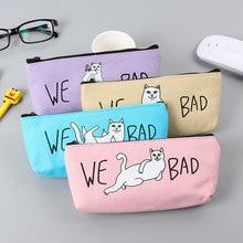 1 pcs New Cute Blame cat triangle Canvas bags women Makeup bag Graceful Cosmetic Brush Storage Pouch Case children pen bags