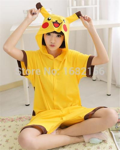 9285f0a7d5 Adult Pikachu Pajamas Short Sleeve Animal Onesie Hoodie Pikachu Summer  Onesies Costume Unisex 100% Cotton Pyjamas Sleepwear