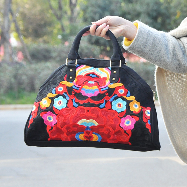 2016 New Arrive National Original Embroidery Bag Handmade Floral embroidered tote cross-body Boho Indian Black Travel Handbag