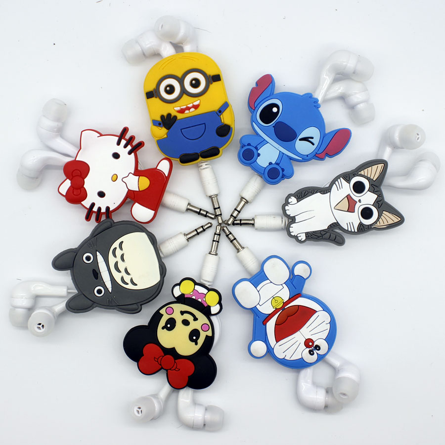 2016 hot High quality cartoon Hello Kitty earphone mickey dads totoro stitch cheese jingle cats Telescopic