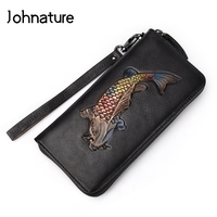 Johnature 2019New Retro Women Wallet Long Zipper Genuine Leather Animal Prints Cow Leather Ladies Clutch Bags Purses Hand Wallet