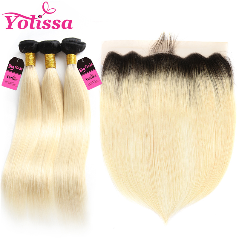 Yolissa Hair T1B/613 Ombre Bundles With Frontal 4 Pieces Human Hair Brazilian Straight Hair Bundles With Frontal 13X4 Remy Hair image