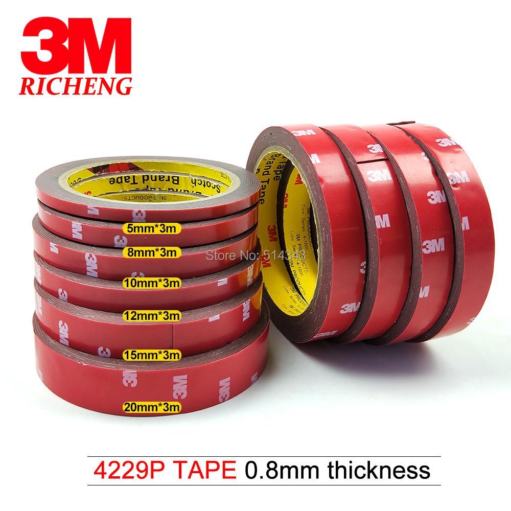 3M 4229 Gray Color, 0.8mm Thick, Double Coated Adhesive Acrylic Foam Tape For Automotive Exterior Trim Parts, Body Side Moldings