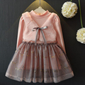 Girls Party Dress 2016 New Winter Thicken Dresses Children Clothing Princess Dress Pink Long Sleeve Wool Bow Girls Clothes