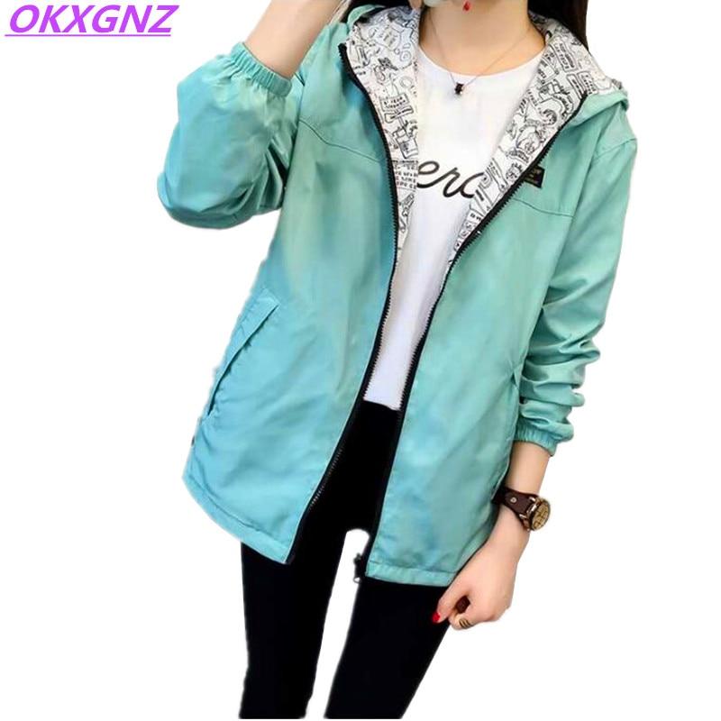2018 Spring Autumn Women Basic Jacket Pocket Zipper Hooded Two Side Wear Cartoon Print Outwear Loose Coat Windbreaker Female 101 Куртка