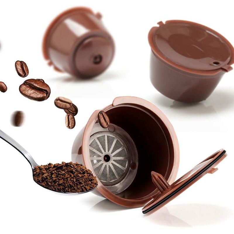 6 Piezas C/ápsulas Filtros de Caf/é Recargable Filtros C/ápsulas de Caf/é Reutilizable Capsulas Dolce Gusto Recargables con 2 cuchar/ón de pl/ástico y 2 cepillo de limpieza