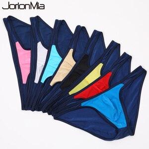 Image 1 - 5 sztuk Sexy męskie majtki miękka, oddychająca jedwabna seksowna bielizna męskie gorące biodra w górę przejrzyste Jockstrap kolorowe Undies cueca E 051
