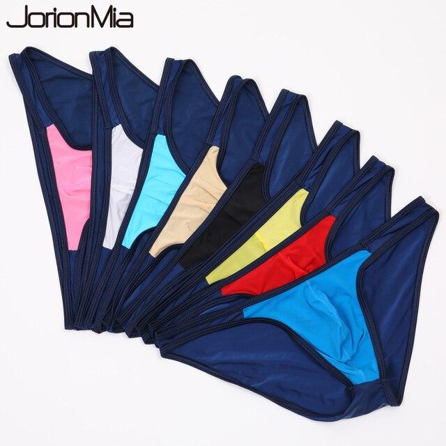 5 sztuk Sexy męskie majtki miękka, oddychająca jedwabna seksowna bielizna męskie gorące biodra w górę przejrzyste Jockstrap kolorowe Undies cueca E 051