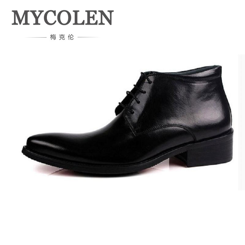 MYCOLEN Genuine Leather Ankle Boots Men Winter Boots Round Toe Real Leather Work Boots High Top Men Shoes Plus Size 38-44 hot sale winter warm fur inside luxury men boots comfortable round toe brand man casual shoes genuine leather ankle boots 38 44