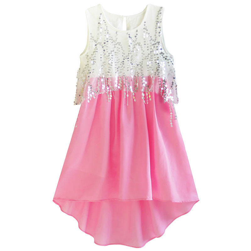 Sunny Fashion Girls Dress Sequined Hi-lo Chiffon Beach Party Sundress 2017 Summer Princess Wedding Dresses Clothes Size 6-14 sunny fashion girls dress butterfly party birthday sundress 2017 summer princess wedding dresses kids clothes size 5 12 pageant